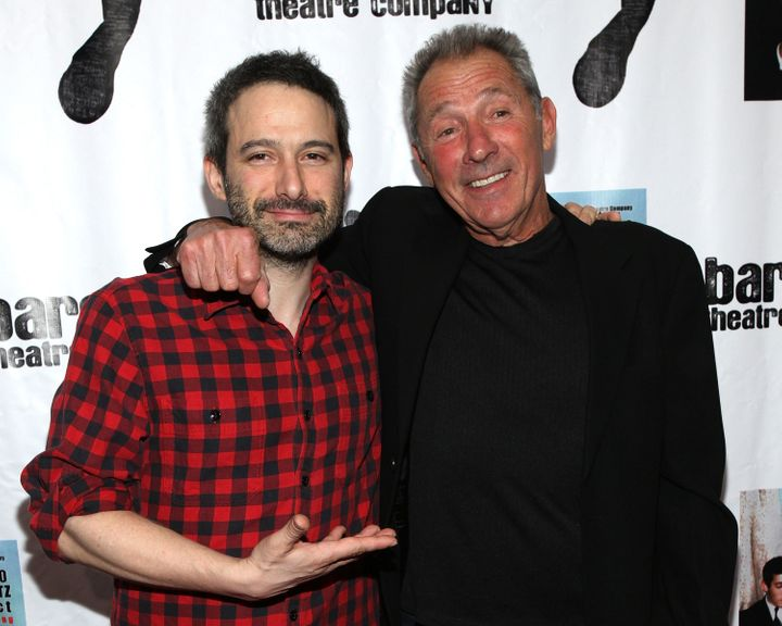 Adam Horovitz and his father, playwright Israel Horovitz, at New York City's Bleecker Street Theatre on March 31, 2010.