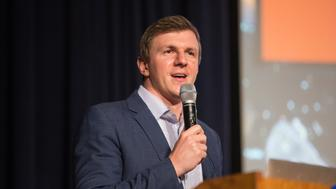 DALLAS, TX - NOVEMBER 29: James OKeefe, founder of Project Veritas, speaks about the organizations work to a gathering hosted by the Young Americans for Freedom at Southern Methodist University on Wednesday, November 29, 2017. (Photo by Laura Buckman for The Washington Post via Getty Images)