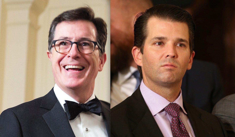Stephen Colbert, left, roastedDonald Trump Jr. over an old tweet on sexual harassment.