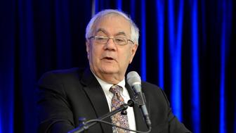 Wed, Oct. 30, 2013. Former U.S. Rep. Barney Frank, D-Mass. speaks during the 2013 Maine Affordable Housing Conference at Holiday Inn By The Bay in Portland.  (Photo by John Patriquin/Portland Press Herald via Getty Images)