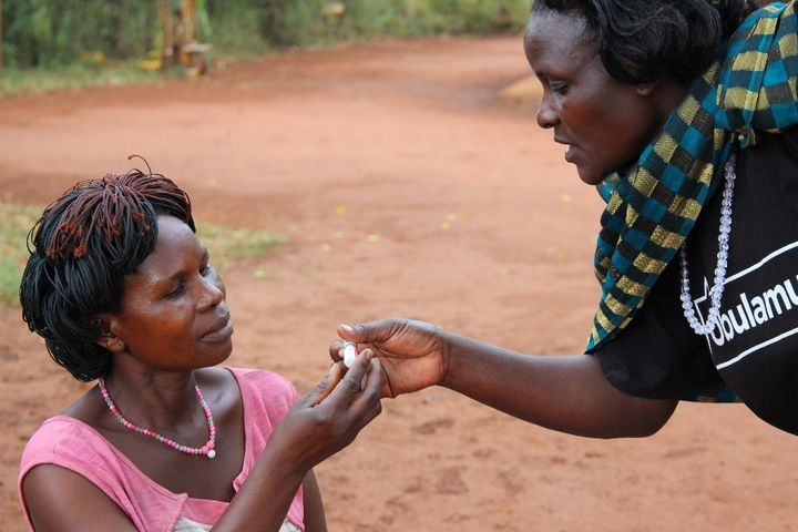 <em>A community health worker in Uganda provides family planning services. Uganda will be severely impacted by the Global Gag