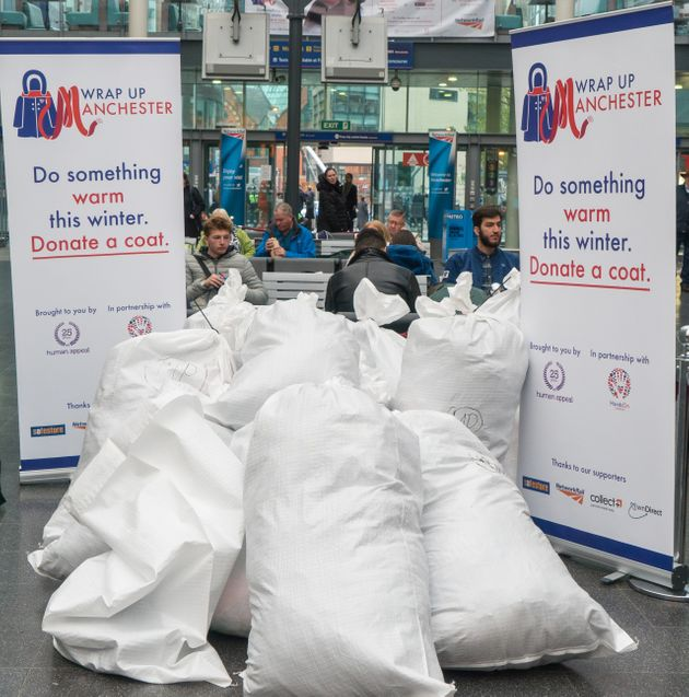 Huge bags of donated clothes and other items at Manchester