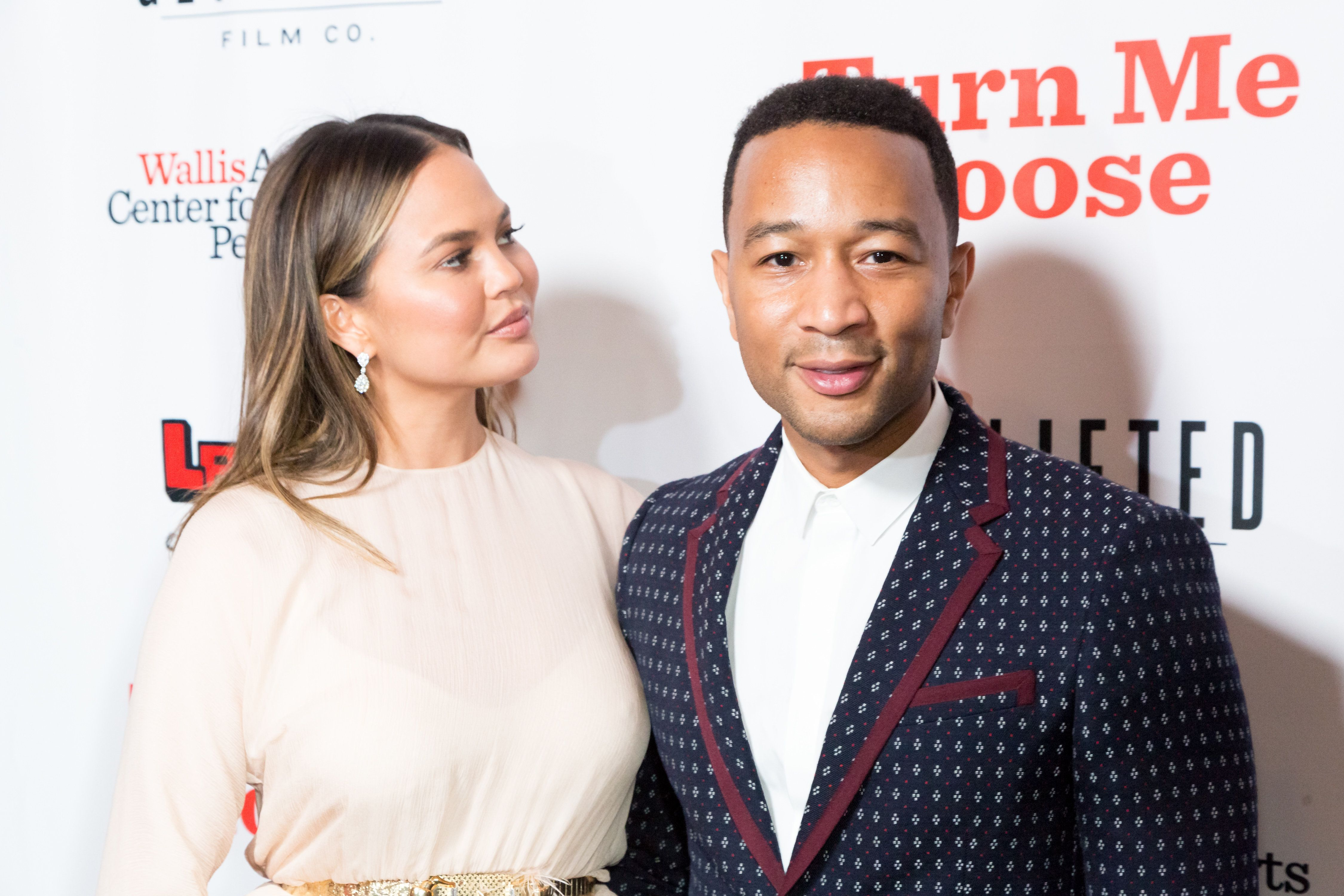 BEVERLY HILLS, CA - OCTOBER 19:  Chrissy Teigen and John Legend attend 'Turn Me Loose' at Wallis Annenberg Center for the Performing Arts on October 19, 2017 in Beverly Hills, California.  (Photo by Greg Doherty/Getty Images)
