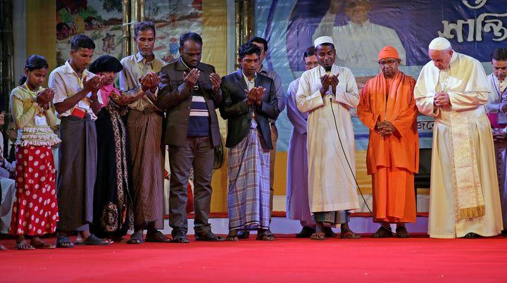 Pope Francis prays with Rohingya refugees in Dhaka, Bangladesh, on Dec. 1.