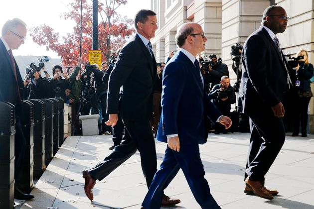 Former national security adviser Michael Flynn arrives for a plea hearing at U.S. District Court in Washington,