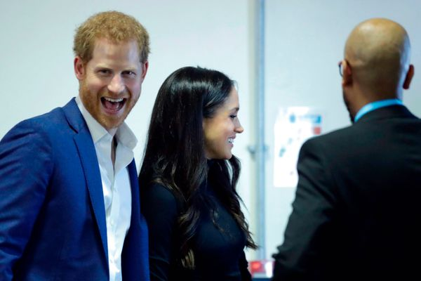 """Has Prince Harry ever looked happier? This big, giant grin is clearly a good sign, Wood said.<br><br>""""I<i> love</i> his open"""