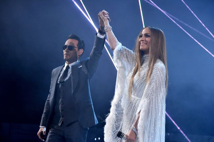 Marc Anthony and Jennifer Lopez perform onstage during The 17th Annual Latin Grammy Awards at T-Mobile Arena on Nov. 17,