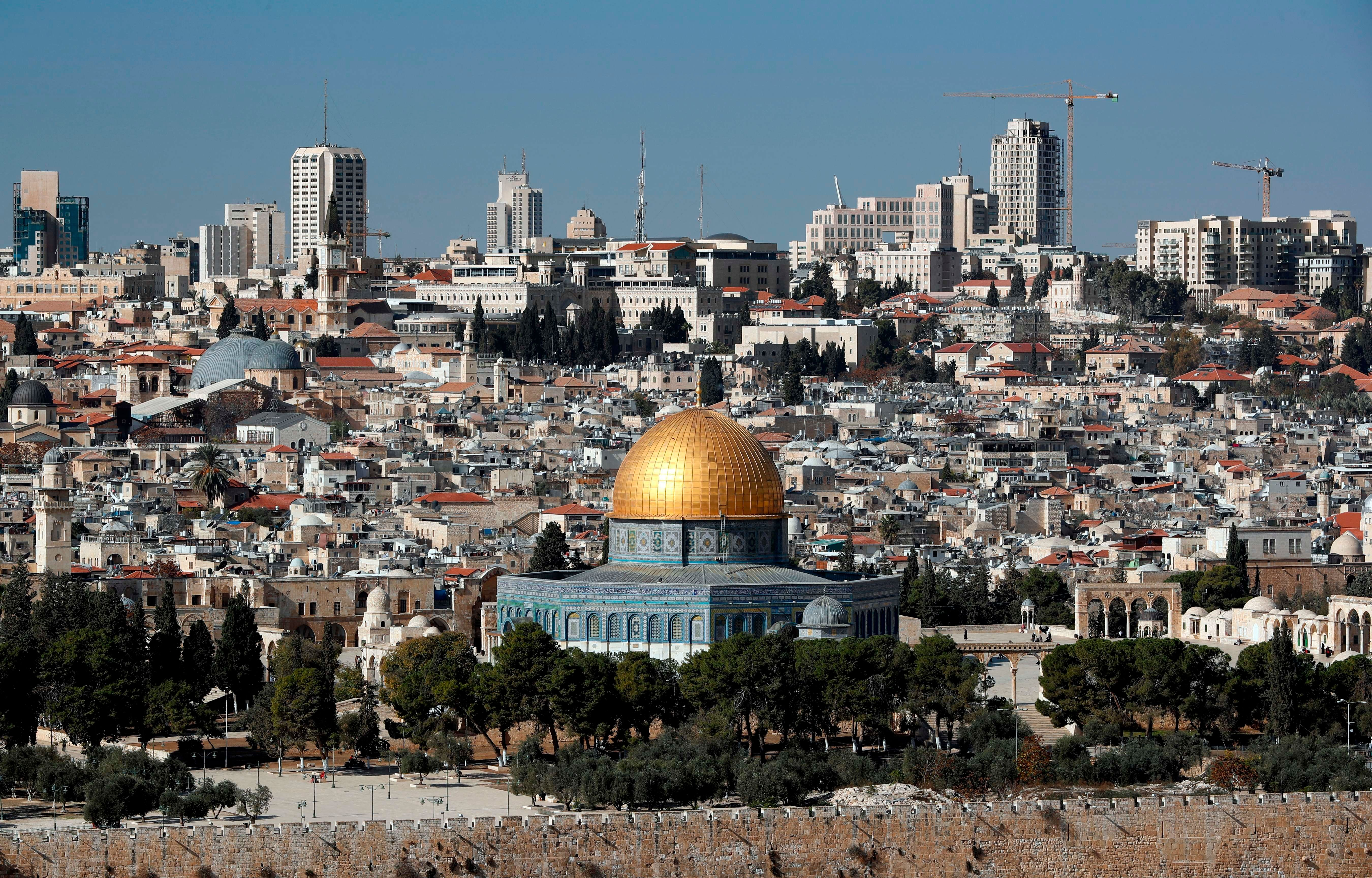 The Dome of the Rock mosque and a general view of Jerusalem on Dec.