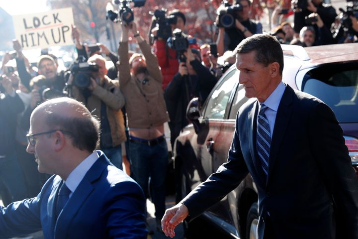 Former national security adviser Michael Flynn leaves U.S. District Court in Washington on Friday morning. It looks like a bi