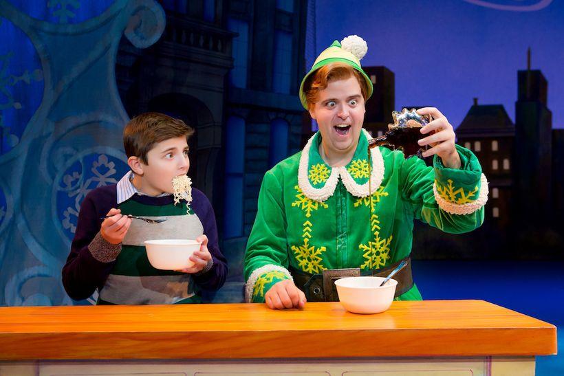 (l. to r.) Trey Middleton and Erik Gratton in <em>Elf the Musical</em>