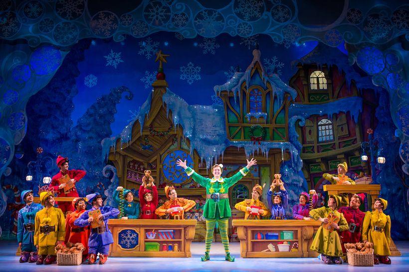 Erik Gratton and the cast of <em>Elf the Musical</em>