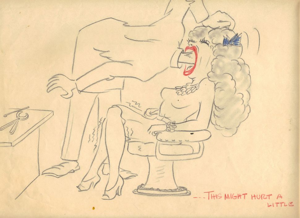 A drawing a male colleague left on Virginia Fleener's desk.