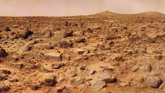 Twin Peaks On Mars, A Composite Of Several Images Taken By The Mars Pathfinder Lander Shows The Boulder-Strewn Surface Of Mars At Chryse Planitia, In The Distance Are Two Hills Dubbed 'Twin Peaks,' Which Are About 100 Feet (30 Meters) Tall. (Photo By Ency