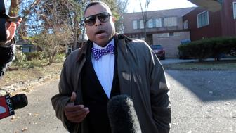 Arnold Reed, an attorney for U.S. Rep John Conyers, makes a statement to the media in front of Conyers family home in Detroit, Michigan, U.S., November 29, 2017.  REUTERS/Rebecca Cook