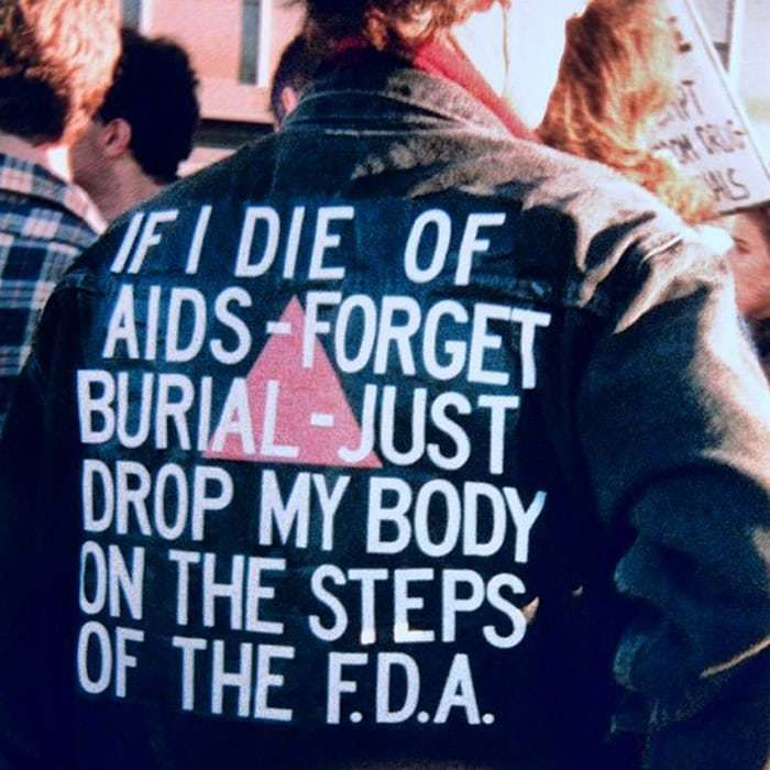 Jacket worn by David Wojnarowicz at an Aids demonstration in 1988.