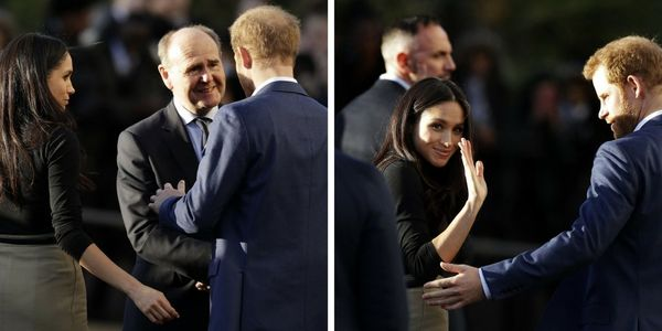 There's mirroring going on in these two shots; both Meghan and Harrylook protective, reaching out as if to check in&nbs