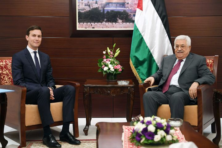 Jared Kushner meets with Palestinian President Mahmoud Abbas on June 21, 2017, in Ramallah, West Bank.