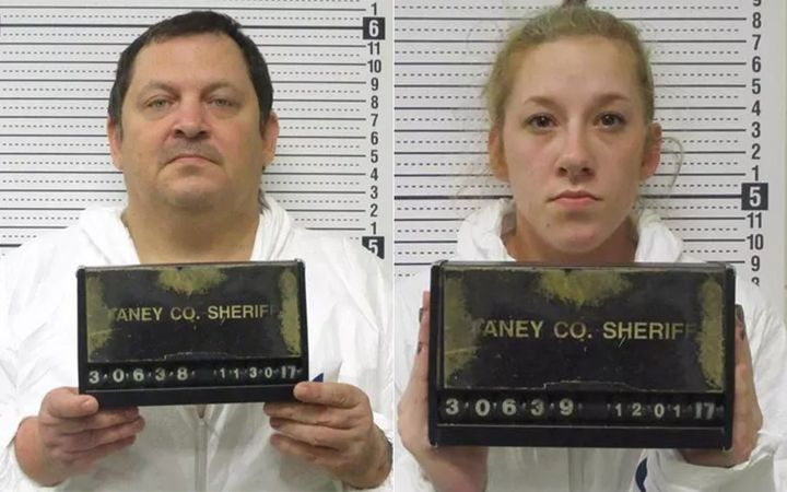 Aubrey Trail left and Bailey Boswell after their arrests in Missouri.
