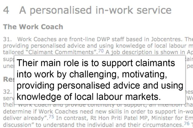 MPs described the main role ofa work coach to be 'support[ing] claimants into