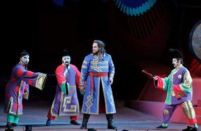 Ping, Pang, and Pong try to deter Prince Calaf (Brian Jagde) from pursuing PrincessTurandot in Puccini's opera
