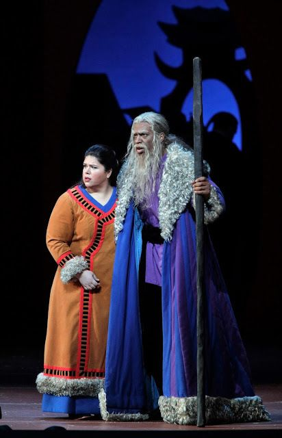 <p>Leah Crocetto (Liu) and Soloman Howard (Timur) in Act I of <strong><em>Turandot</em></strong> </p>