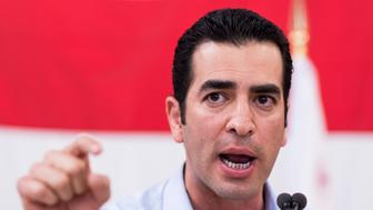 UNITED STATES - OCTOBER 22: Ruben Kihuen, Democratic candidate for Nevadas 4th Congressional district, speaks at the United Brotherhood of Carpenters early vote rally at the Carpenters Union Training Center in Las Vegas on the first day of early voting in Nevada on Saturday, Oct. 22, 2016. (Photo By Bill Clark/CQ Roll Call)