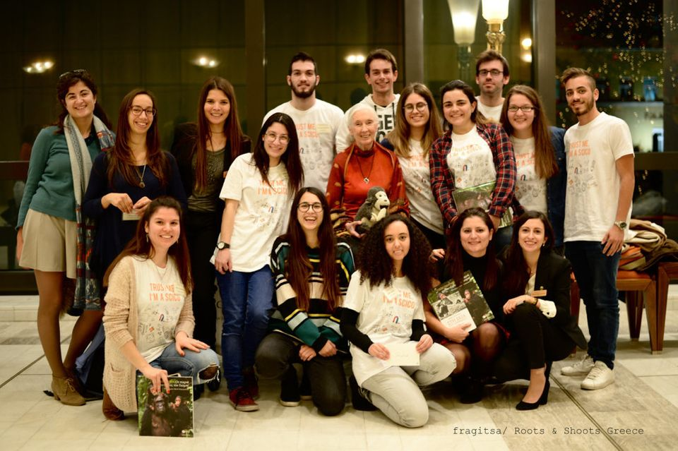 Dr Jane Goodall with the Roots_Shoots Greece team of coordinators and volunteers after her lecture in...