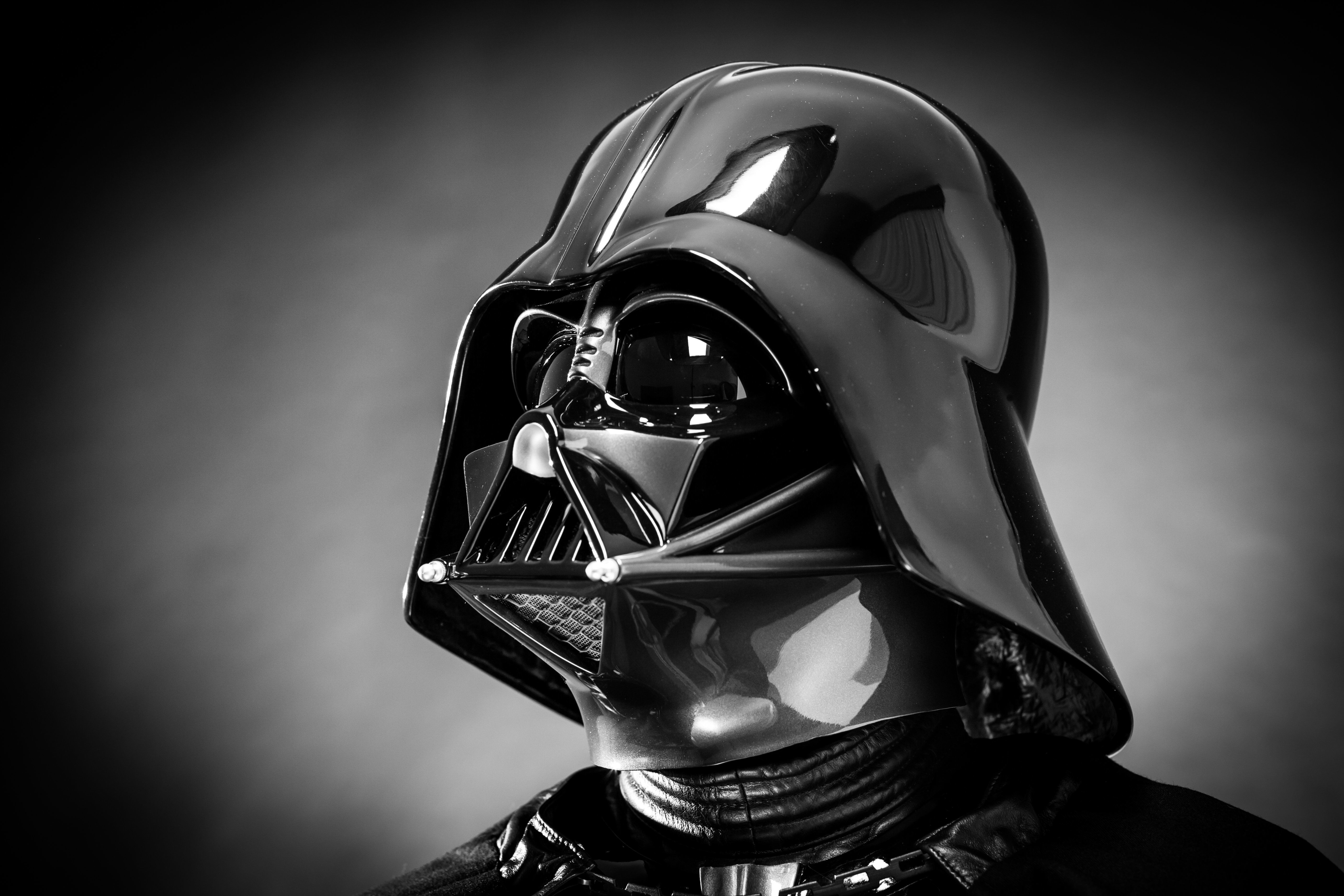 SAN BENEDETTO DEL TRONTO, ITALY. DECEMBER 5, 2014. Helmet of a replica of the costume of Darth Vader . Darth Vader or Dart Fener is a fictional character of Star Wars saga. Black and white picture