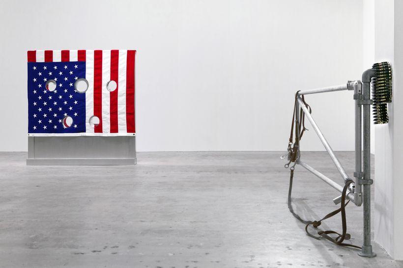 Installation view of <em>Kinetics of Violence: Alexander Calder + Cady Noland</em>, curated by Sandra Antelo-Suarez, Venus Ov