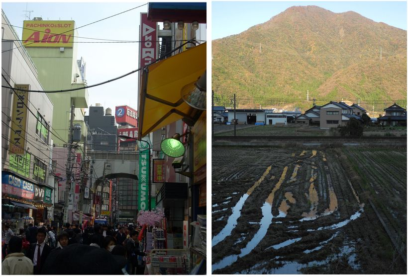 Akihabara section of Tokyo, 2008 (left), Rice Fields in Fukui Prefecture, 2017 (right) (all photos courtesy of the author)
