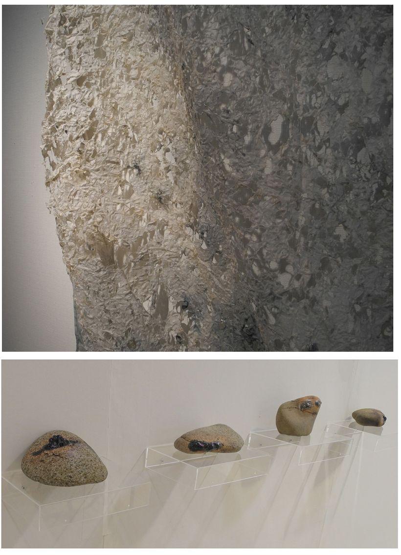 The art of Yasuhiro Shimakawa, paper detail (top), liguified rocks (bottom)