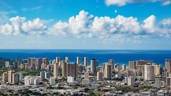 Aerial view of Honolulu city skyline