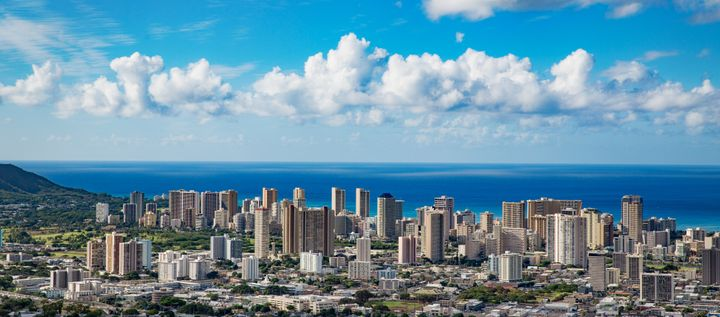 Aerial view of the Honolulu skyline.