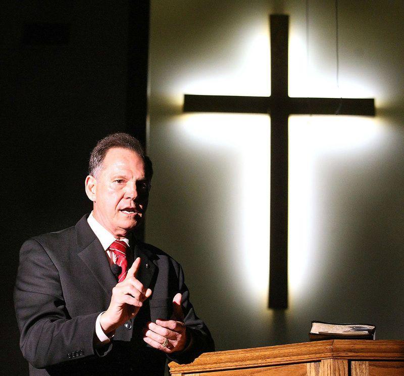 Moore speaks at Angel Grove Baptist Church in Jacksonville, Alabama.
