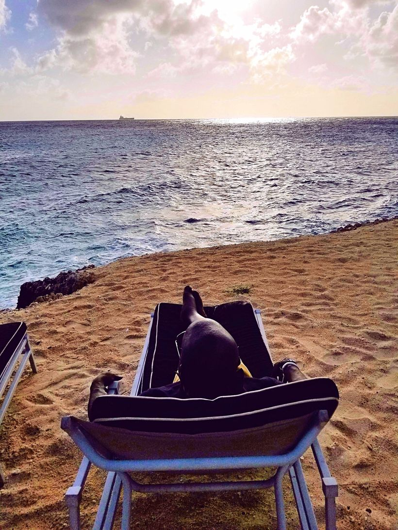 Enjoying the view on one of Curaçao's private beaches.