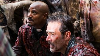 Seth Gilliam as Father Gabriel Stokes, Jeffrey Dean Morgan as Negan - The Walking Dead _ Season 8, Episode 5 - Photo Credit: Gene Page/AMC