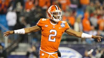 CHARLOTTE, NC - DECEMBER 02: Clemson quarterback Kelly Bryant (2) celebrates throwing a touchdown pass during the game between the Clemson Tigers and the Miami Hurricanes on December 2, 2017 at Bank of America Stadium. The Tigers won 38-3. (Photo by Brian Utesch/Icon Sportswire via Getty Images)