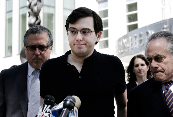 Martin Shkreli, the former CEO of Turing Pharmaceuticals, is seen outside a New York federal courthouse.