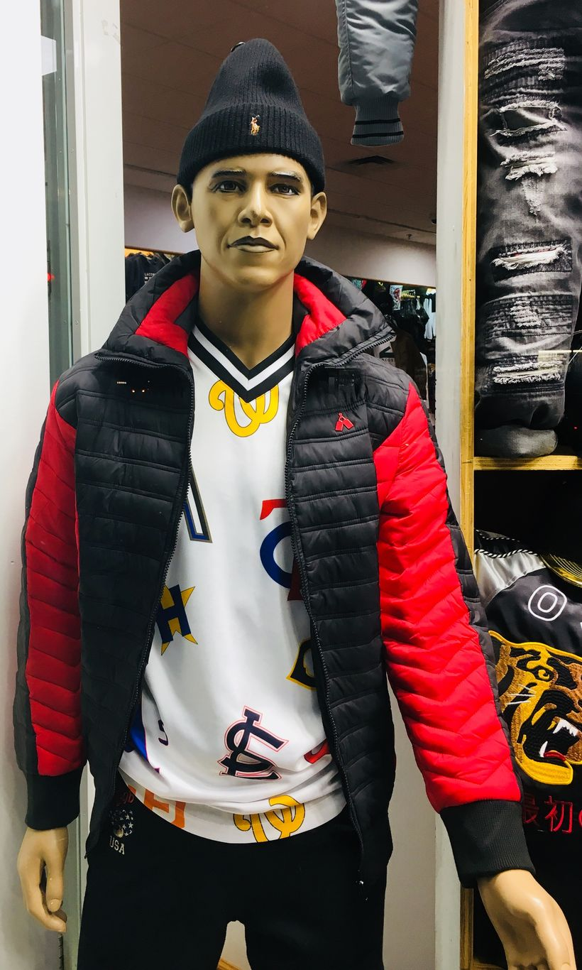 """Obama's twin mannequin is adorned with the latest Brooklyn """"swag"""" from head to toe."""