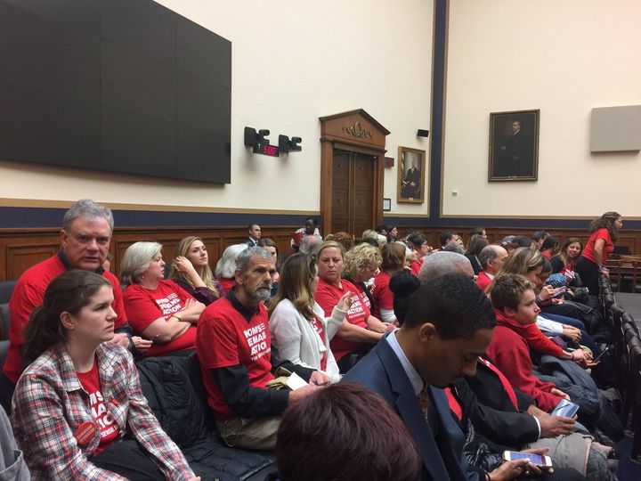 Members of the grassroots gun violence prevention group, Moms Demand Action for Gun Sense in America, pack the room for the H