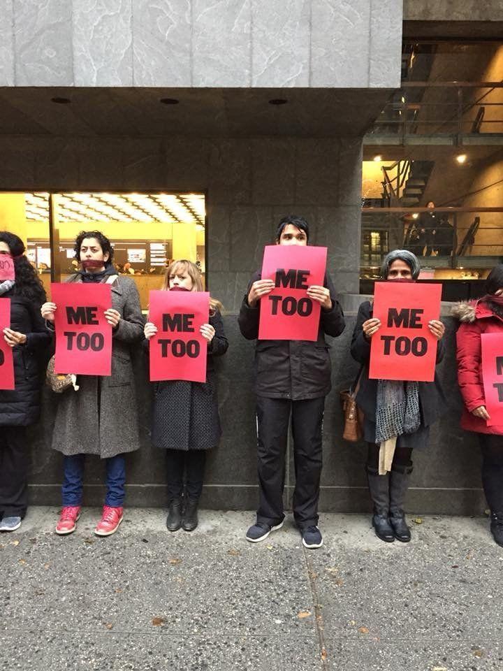 "Protestors participating in ""#MeToo at The Met Breuer"" on Dec. 3."