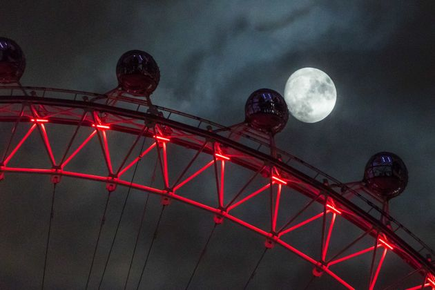 Supermoon over the London Eye, photographed from Downing