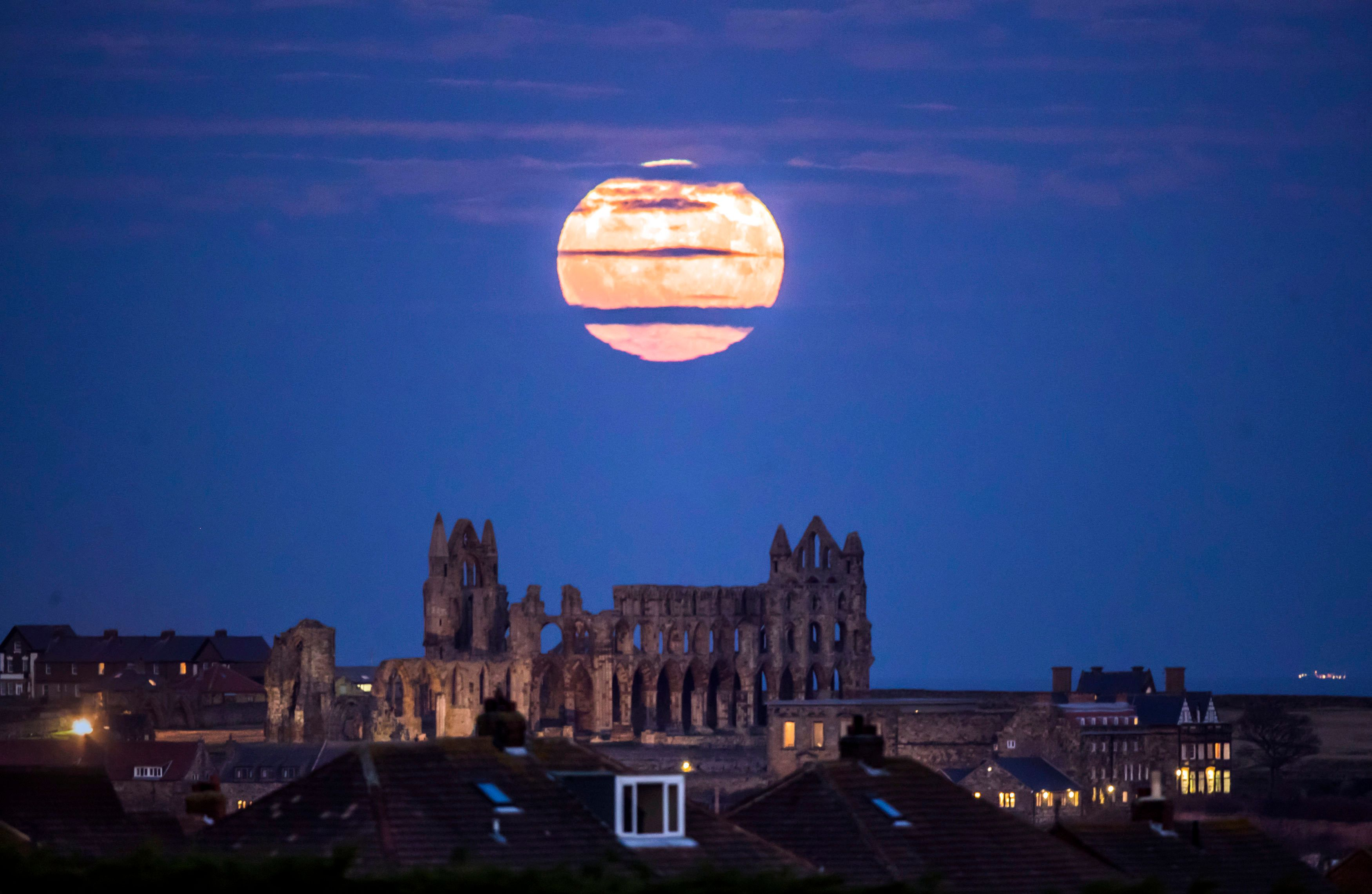 Supermoon above Whitby Abbey,