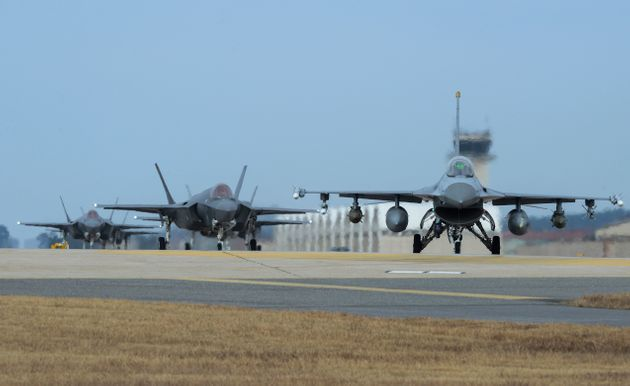 A handout photo of US Air Force jets at Kunsan Air Base, located at Gunsan Airport in South Korea, on...