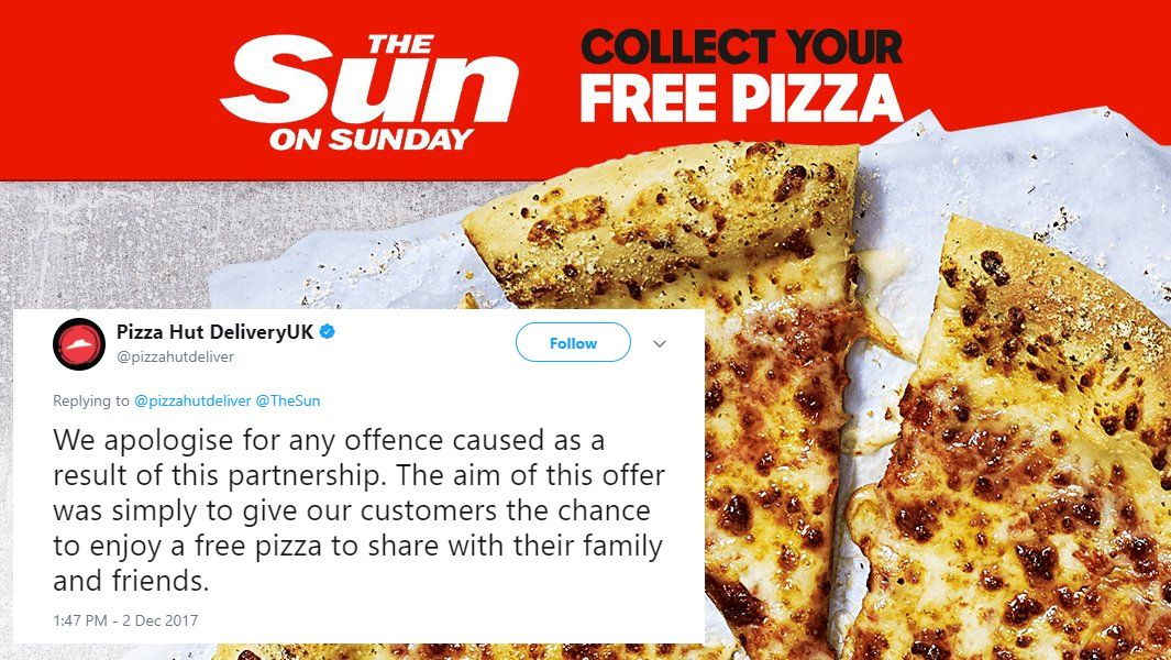 Pizza Hut Tweets Apology 'For Any Offence Caused' Following Promotion In The