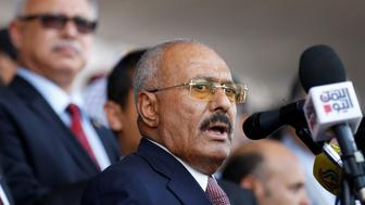 Yemen's former President Ali Abdullah Saleh addresses a rally held to mark the 35th anniversary of the establishment of his General People's Congress party in Sanaa, Yemen August 24, 2017. Picture taken August 24, 2017. REUTERS/Khaled Abdullah