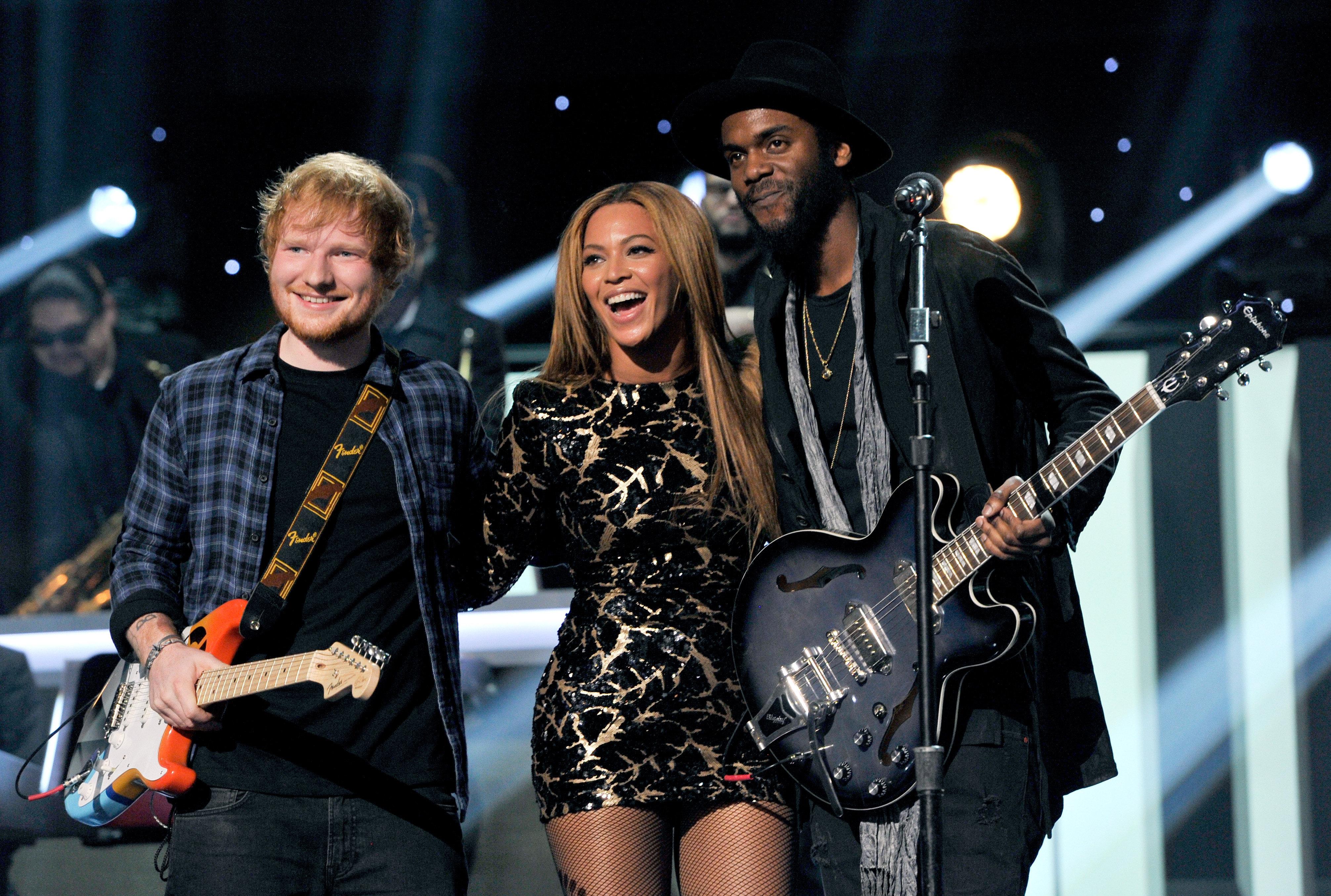 Ed Sheeran,Beyoncé and Gary Clark Jr. performing together on Feb. 10, 2015.