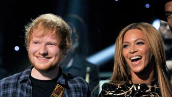 LOS ANGELES, CA - FEBRUARY 10:  (L-R) Recording artists Ed Sheeran, Beyonce and Gary Clark Jr. perform onstage during Stevie Wonder: Songs In The Key Of Life - An All-Star GRAMMY Salute at Nokia Theatre L.A. Live on February 10, 2015 in Los Angeles, California.  (Photo by Lester Cohen/WireImage)