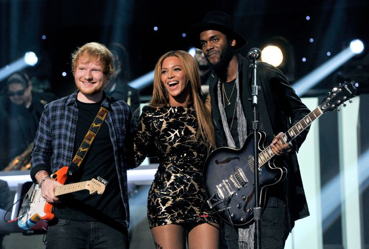 Ed Sheeran, Beyoncé and Gary Clark Jr. performing together on Feb. 10, 2015.