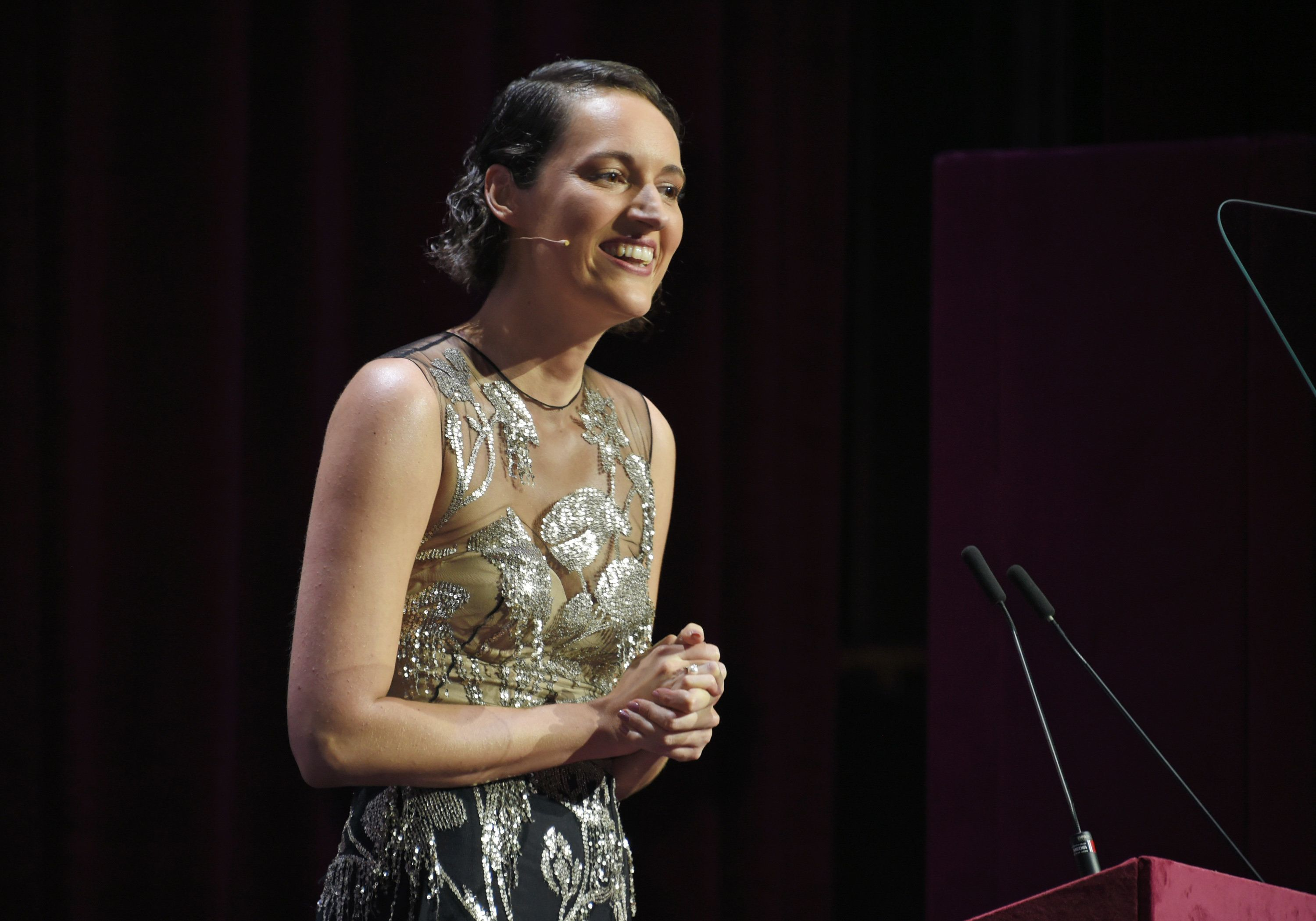 Phoebe Waller-Bridge speaks at the London Evening Standard Theatre Awards on Dec. 3.